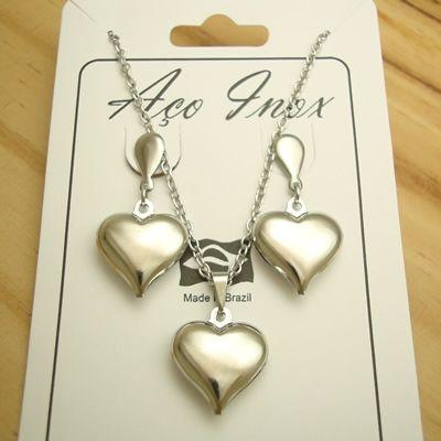 conjunto coração duplo em aço inox 316L
