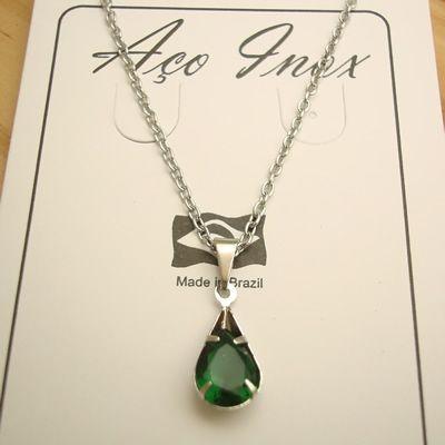 colar aço inox 316L pingente zircônia gota cor verde 1,2 cm