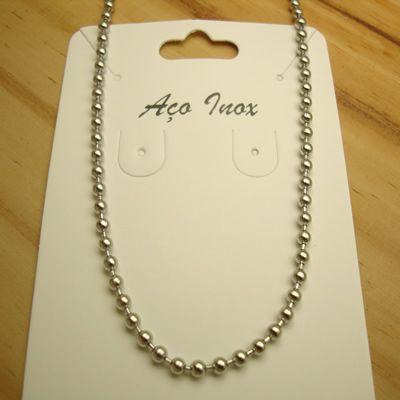 colar de bolinhas em aço inox 316L - tamanho 40 x 0,3 cm
