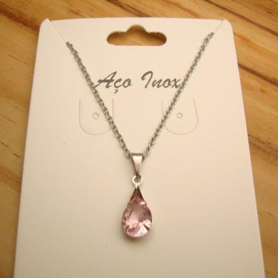 colar aço inox antialérgico 316L - pingente gota zircônia rosa 1,8 cm