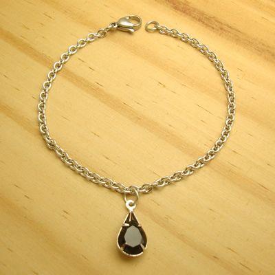 pulseira em aço inox antialérgico 316L - pingente zircônia gota cor preto