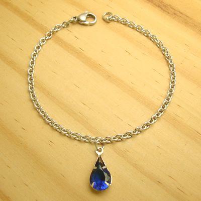 pulseira em aço inox antialérgico 316L - pingente zircônia gota cor azul