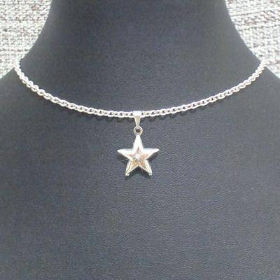 choker em aço inox antialérgico 34 cm - pingente estrela