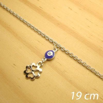 pulseira aço inox antialérgico - 19 cm - pingente olho grego flor