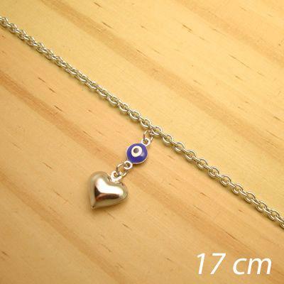 pulseira aço inox antialérgico - 17 cm - pingente de olho grego coração