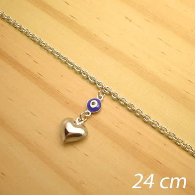 tornozeleira aço inox antialérgico - 24 cm - pingente de olho grego coração