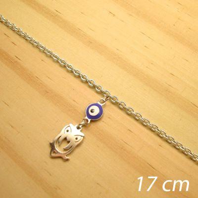 pulseira juvenil aço inox antialérgico - 17 cm - pingente de olho grego coruja