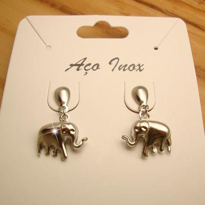 brinco aço inox antialérgico - pingente duplo de elefantinho