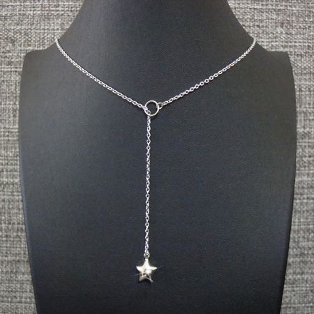 colar gravatinha aço inox antialérgico - pingente duplo estrela