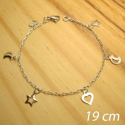 pulseira aço inox antialérgico - 6 pingentes estrela lua coração