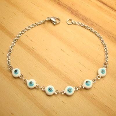 pulseira aço inox antialérgico - pingentes 6 olho grego cor branco