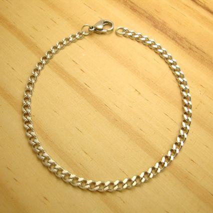 pulseira em aço inox antialérgico estilo groumet 18 cm
