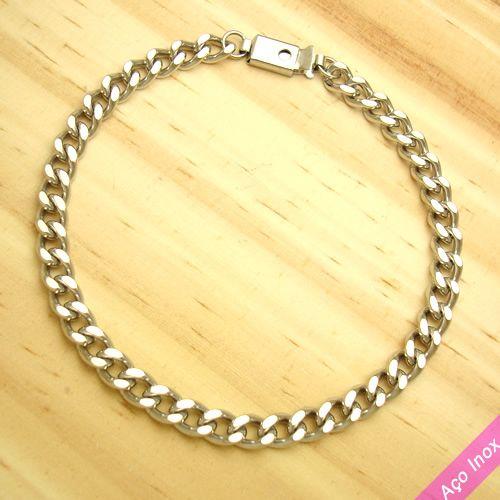 pulseira em aço inox antialérgico estilo groumet - tamanho 19 cm