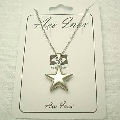 colar estrela em aço inox 316L