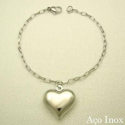pulseira coração em aço inox 316L - 19 cm - pingente 2 cm