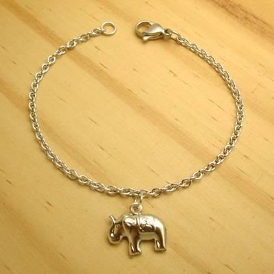 pulseira juvenil aço inox antialérgico 316L - tamanho 17 cm - pingente elefante