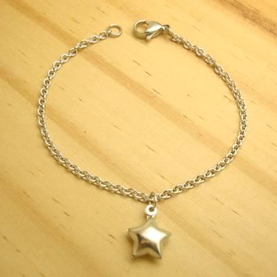 pulseira juvenil aço inox antialérgico 316L - tamanho 17 cm - pingente estrela