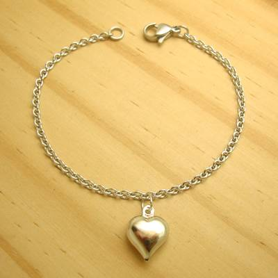 pulseira juvenil aço inox antialérgico 316L - 17 cm - pingente coração