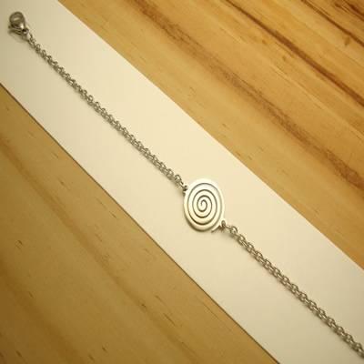 pulseira aço inox antialérgico 316L - tamanho 19 cm - pingente espiral