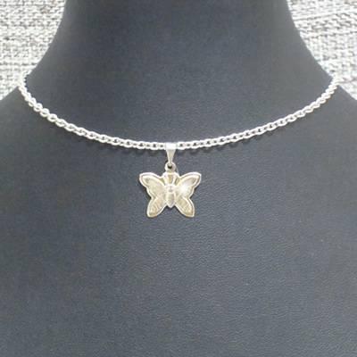 choker em aço inox antialérgico 35 cm - pingente borboleta