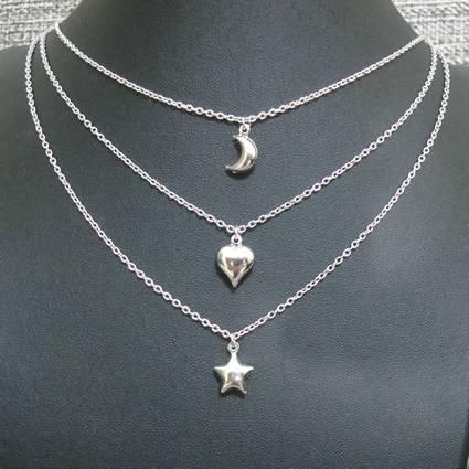 gargantilha tripla - 3 pingentes lua coração estrela - aço inox antialérgico