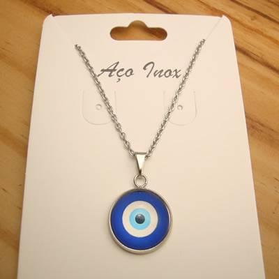 colar aço inox antialérgico pingente olho grego vidro base inox