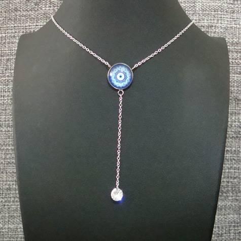 colar aço inox antialérgico - pingente olho grego vidro - ponto de luz zircônia