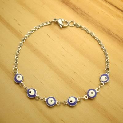 pulseira em aço inox antialérgico 19 cm - olho grego cor azul