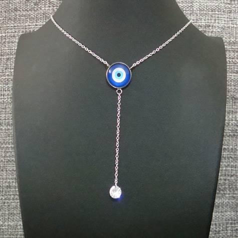 colar aço inox antialérgico - pingente olho grego vidro azul