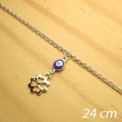 tornozeleira aço inox antialérgico - 24 cm - pingente olho grego flor