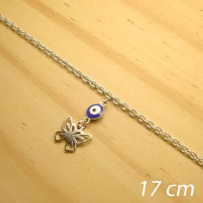 pulseira aço inox antialérgico - 17 cm - pingente de olho grego borboleta