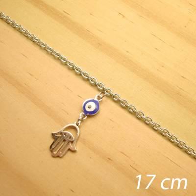 pulseira aço inox antialérgico - 17 cm - pingente de olho grego hamsá