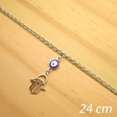tornozeleira aço inox antialérgico - 24 cm - pingente de olho grego hamsá