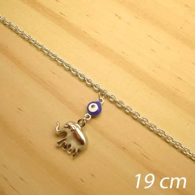 pulseira aço inox antialérgico - 19 cm - pingente de olho grego elefante