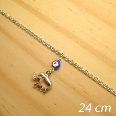 tornozeleira aço inox antialérgico - 24 cm - pingente de olho grego elefante