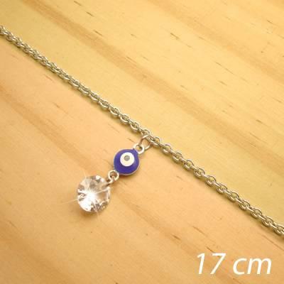 pulseira juvenil aço inox antialérgico - 17 cm - pingente olho grego zircônia