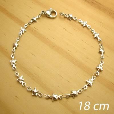 pulseira aço inox antialérgico - corrente de estrelinhas - 18 cm
