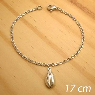 pulseira aço inox antialérgico - tamanho 17 cm - pingente de búzios