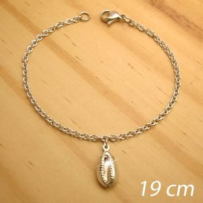 pulseira aço inox antialérgico - tamanho 19 cm - pingente de búzios